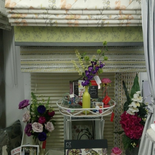 Fabrics and Blinds on display at Coffee, Cake and Curtains, Wedmore