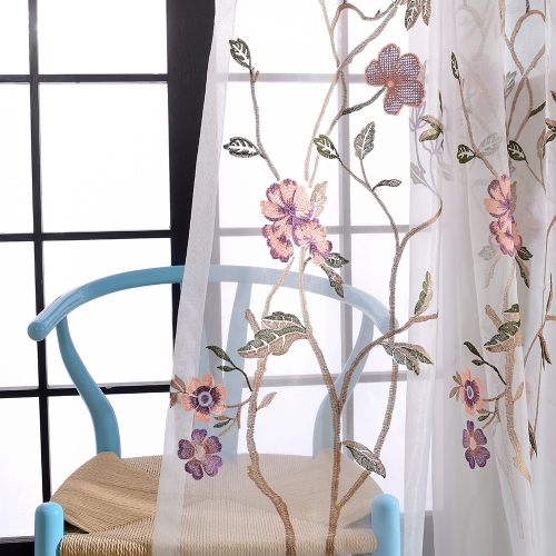 Fragrance Brown Embroidered Voile Curtain