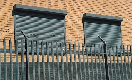 External Roller Shutters With Palisade Fencing Razor Wire
