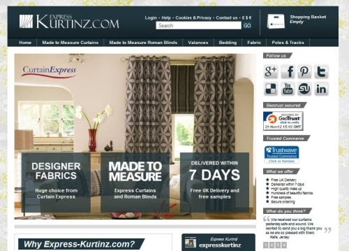express-kurtinz.com has over 600 beautiful fabrics for you to chose from where all curtains and roman blinds are delivered within just seven working days.