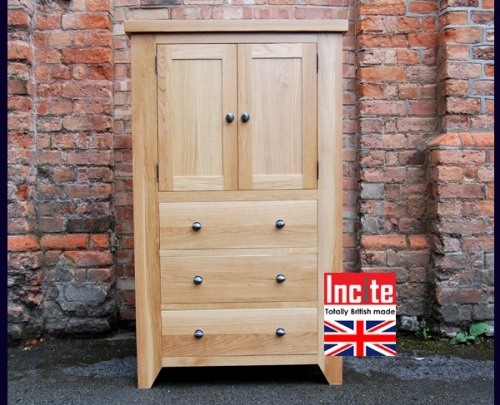 Oak Cupboard Over Drawers Storage Unit custom made By Incite Interiors in Derbyshire