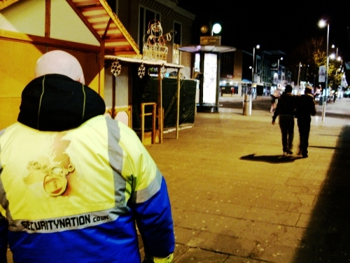 Night time market stall security.