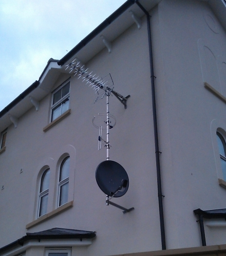 Communal aerial rig for Freeview, FM, DAB, Freesat and Sky Reception