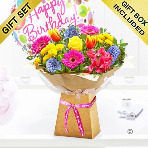 Spring brights happy birthday gift box with happy birthday balloon