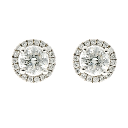 Diamond Halo Cluster Earrings