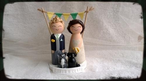 wood peg wedding cake toppers