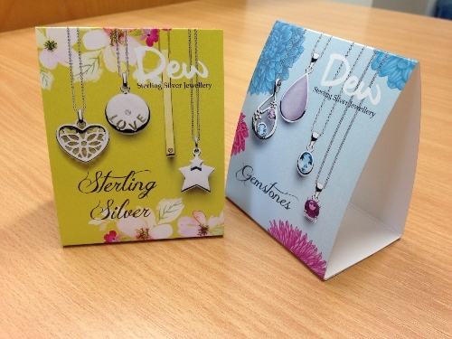 Tent Cards printed for Kit Heath Jewellery