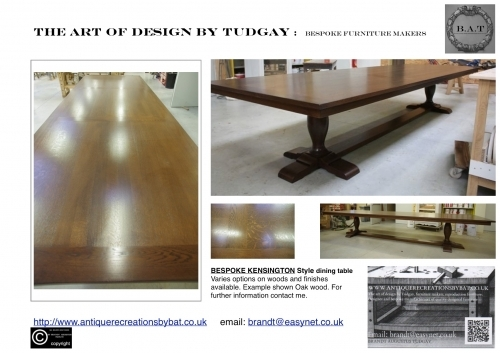 Bespoke Kensington Oak Dining Table-many variations available- www.bespokefurnituremakers.company