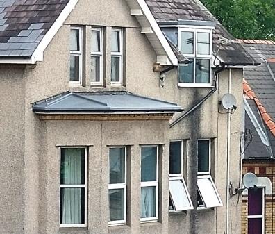 Fibreglass bay window roof.