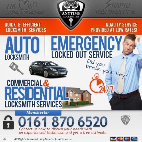 Anytime Locksmiths | Emergency Locksmith Services in Manchester