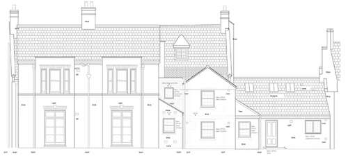 Elevation drawing produced for a private landlord for the purposes of a planning application.