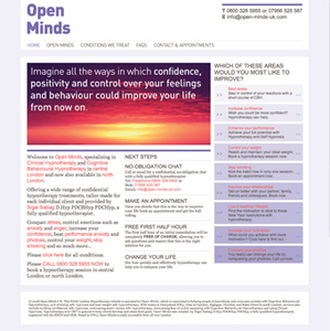 Open Minds Hypnotherapy website