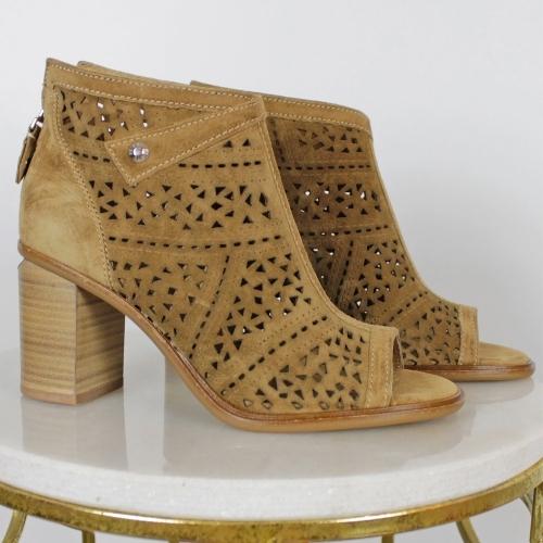 Alpe Peep Toe Heeled Ankle Boots Tan