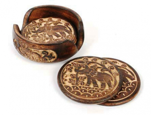 Mango Wood Coaster Set, Elephants - Round