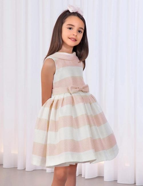Abel and Lula Girls Knit Stripe Rose Dress