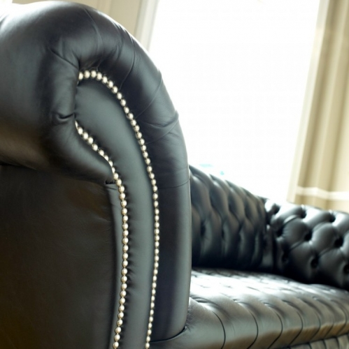 Black Leather Chesterfield - Balston