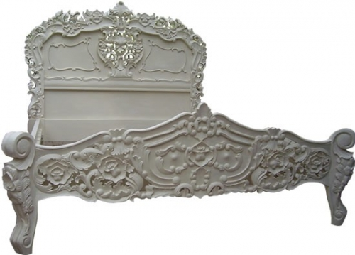 Antique White French Rococo Bed