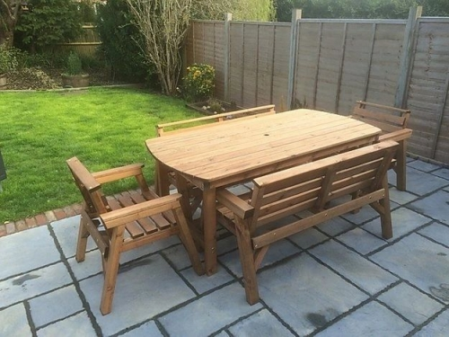 Classic Hand Made Garden Furniture Set - 6 Foot Table - 4 Chairs & 1 Bench