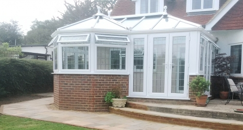 Stylish PVCu conservatory with square leaded glass
