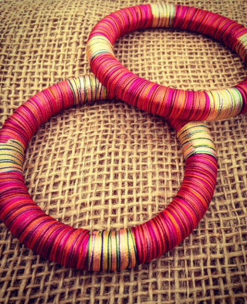 Wooden Bangle Wrapped with Recycled Red / Pink Thread. Fair Trade Jewellery
