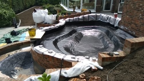 Fibreglass pond lining in Penarth.