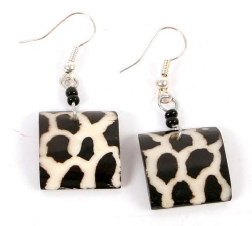 Giraffe Print Bone Earrings, Squares