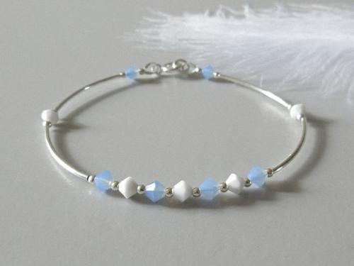 Blue White Crystals Silver Bracelet With Swarovski Crystals