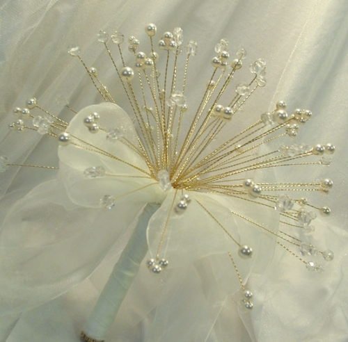 """""""Waterfall"""" Bouquet - Small Gold plated Bouquet with Swarovski Crystals & Pearls and finished off with Organza Ribbon Bow"""