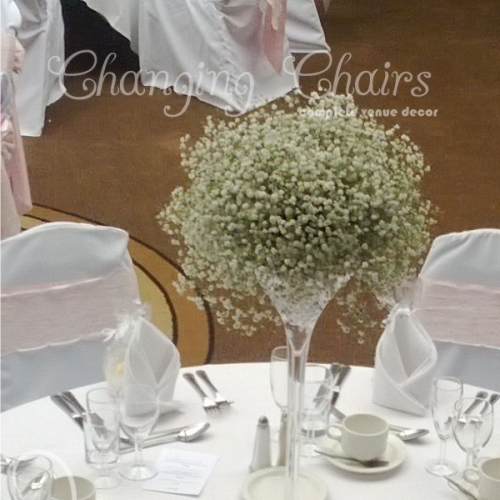 wedding table centres gypsophilia flowers Domes 12