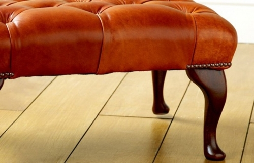 Leather Queen Anne Stool