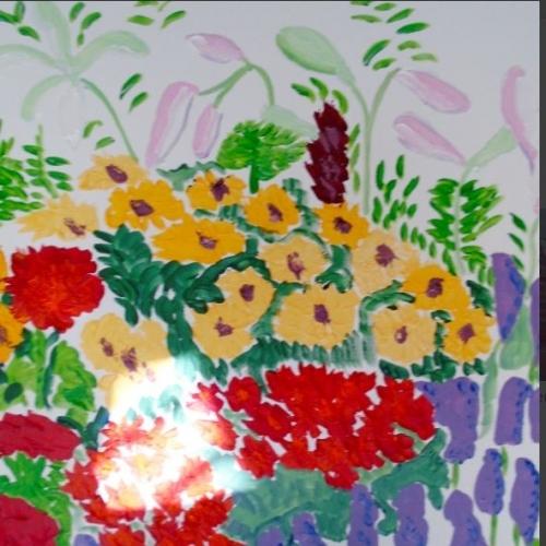 Orange Flowers. acrylic on canvas &6cm x 61cm 250