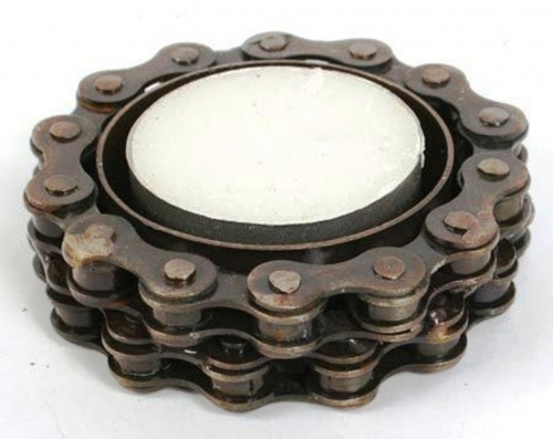 Recycled Bike Chain Tealight Holder, Round