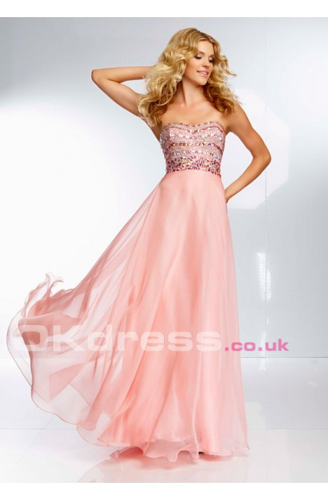 Long Chiffon Strapless Dress With Beaded Bodice PD9651