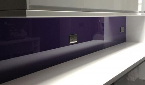 Purple laundry room splashback
