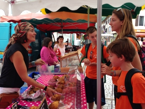 Practising French at the local market at Mountain Adventure Camps