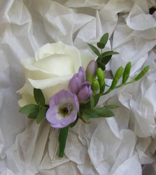 Rose and freesia buttonhole